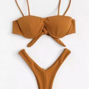Orange brown bikini set